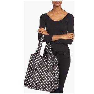 Kate Spade nylon reusable shopping tote black/wht